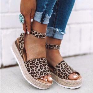 Leopard Espadrilles Size 7